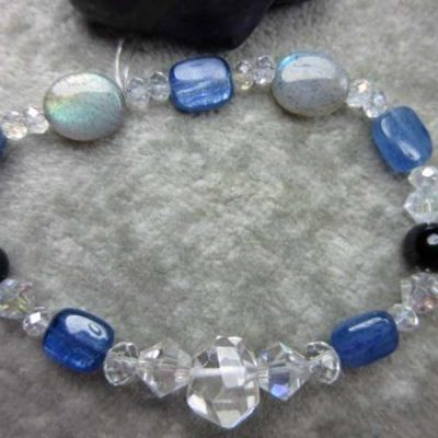 Genuine Quartz, Kyanite, Labradorite and Black Tourmaline Healing Bracelet