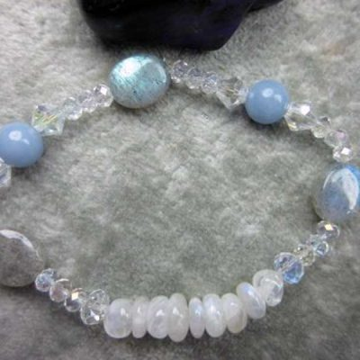 Genuine Rainbow Moonstone, Angelite and Labradorite Healing Bracelet