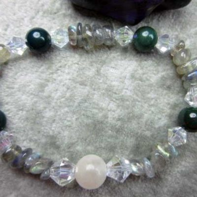 Genuine Selenite, Bloodstone (Heliotrope) and Labradorite Healing Bracelet