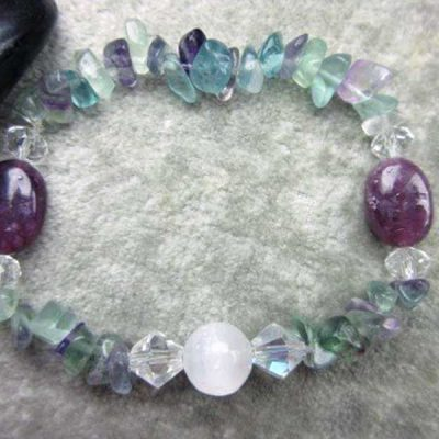 Genuine Selenite, Lepidolite and Rainbow Fluorite Healing Stretch Bracelet