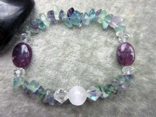 Selenite Lepidolite and Rainbow Fluorite Bracelet