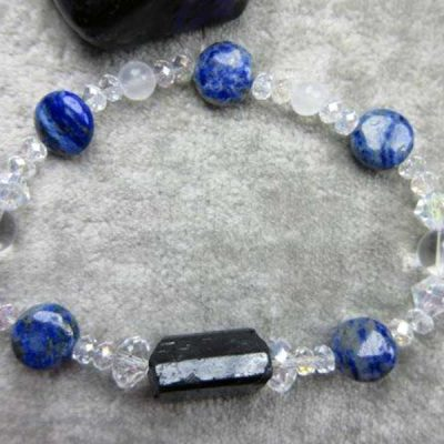 Genuine Black Tourmaline, Lapis Lazuli, Quartz and Selenite Healing Bracelet